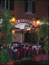 front view of Cornucopia restaurant in Trastevere, Rome